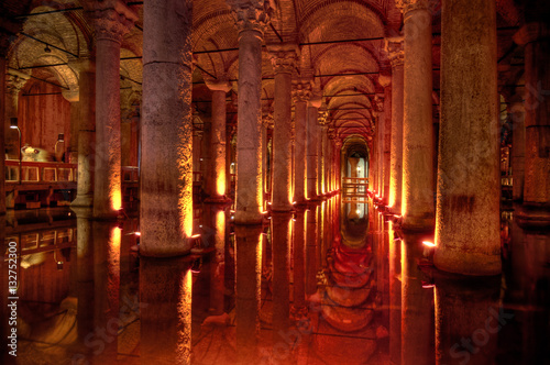 Inside the Basilica Cistern in Istanbul, Turkey Poster