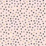 Black and golden spots, abstract pink background - 132754194