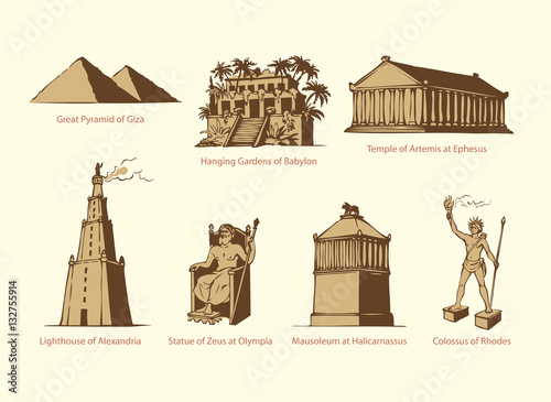 Photo Vector symbols of The Seven Wonders of Ancient WORLD