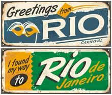 Rio De Janeiro, Greetings From Brazil, Retro Tin Signs Set On Old Metal Texture