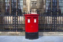 Vintage British Red Post Box In London