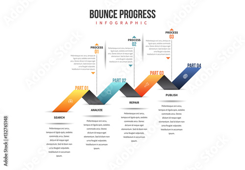 four stage progress bar infographic  buy this stock