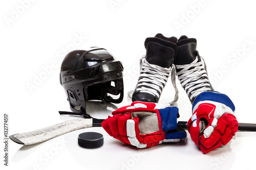 Ice Hockey Equipment Isolated on White Background Wallpaper Mural