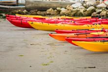Ocean Going Kayaks Hauled Up O...