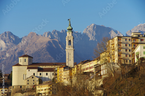 The old center of Belluno among the Dolomites. Canvas Print