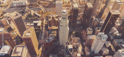 Obraz Aerial view of a Downtown LA at sunset - fototapety do salonu