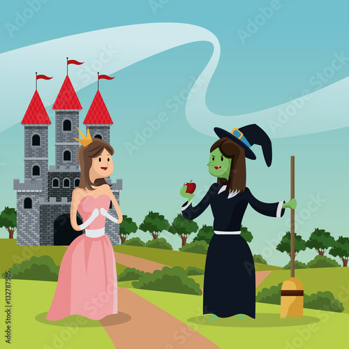 Foto op Aluminium Kasteel princess with ugly witch giving apple castle and landscape vector illustration eps 10