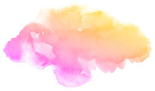 Abstract Pink Watercolor On Wh...