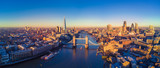 Fototapeta Londyn - Aerial view of London and the River Thames