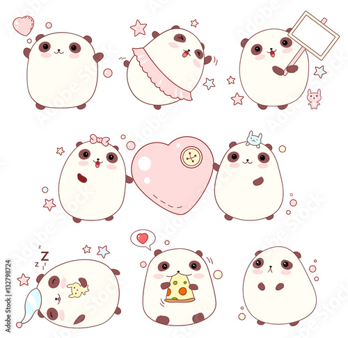 Photo  Set of cute pandas in kawaii style