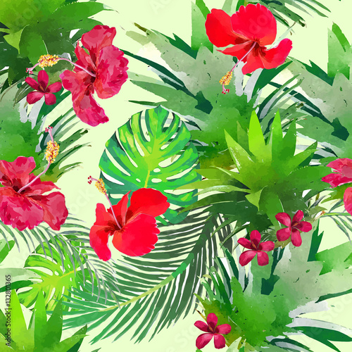 Seamless pattern with tropical flowers in watercolor style.
