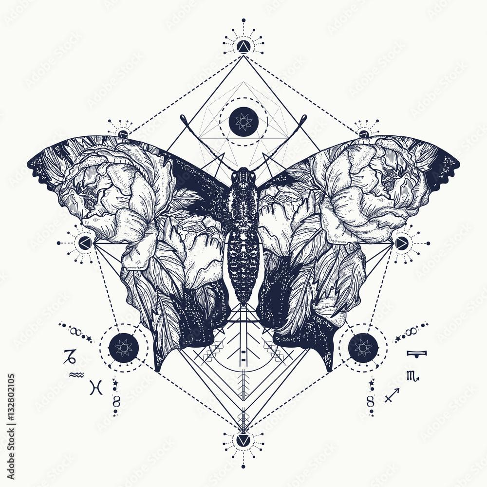 Fototapeta Butterfly tattoo in geometrical style. Beautiful butterfly boho
