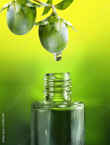 Valokuva  Fruits and nuts  jojoba oil drop falls into the bottle vial close-up macro on a green and yellow background