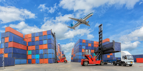 Canvas Print Industrial Container yard for Logistic Import Export business