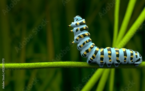 Cuadros en Lienzo  Blue caterpillar alone and lover  3D rendering