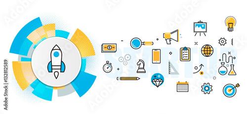 plaska-linia-projekt-ilustracja-koncepcja-planu-i-planu-biznesowego-procesu-uruchamiania