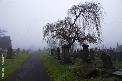 Spoed Foto op Canvas Begraafplaats Old cemetery headstones on a foggy day