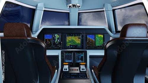 Pilotenkanzel eines Geschäftsreiseflugzeugs