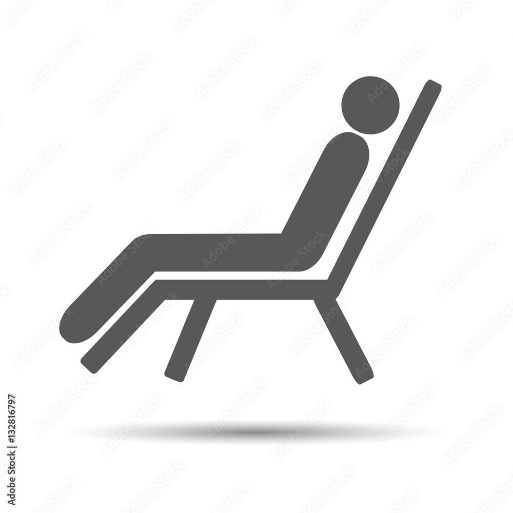 Fototapeta Flat icon Beach chair. People in the beach chair