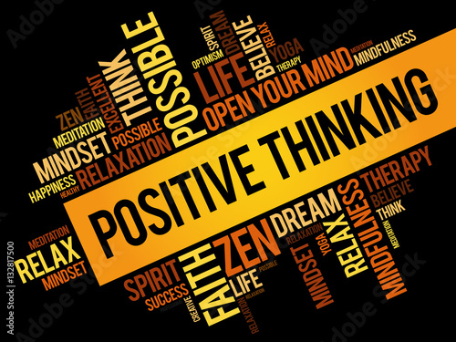 Positive thinking word cloud collage, concept background