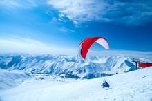 Winter In Greater Caucasus Mountains. Georgia (country). Gudauri Ski Resort. Paragliding
