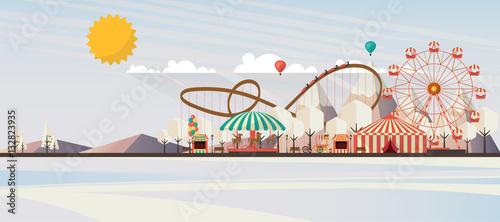 Leinwand Poster Flat illustration of amusement park at daytime in winter illustration