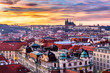 Prague at sunset, panoramic view, image of Prague, capital city of Czech Republic
