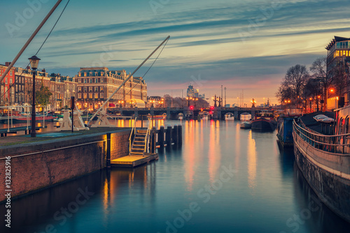 Photo  Amstel River and surroundings in Amsterdam Netherlands
