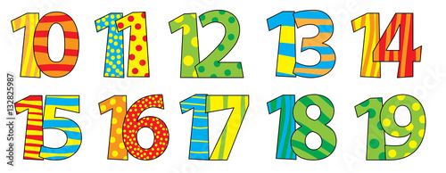 Nice colorful cartoon numbers set for children 10-19
