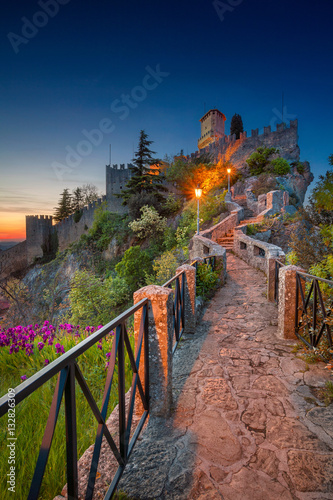 San Marino. Image of castle in San Marino during sunset.