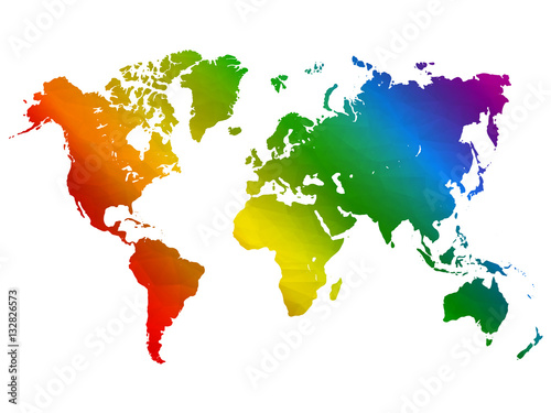 Fotomural  Rainbow world map