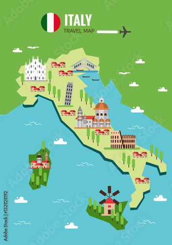 Italy travel map, Italian Colosseum, Milan, Venice. flat vector