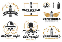Vape, E-cigarette Logo, Emblem...