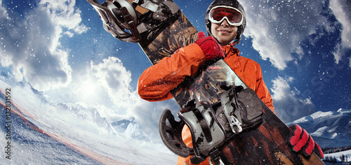 Garden Poster Winter sports Sport background. Winter sport. Snowboarder.