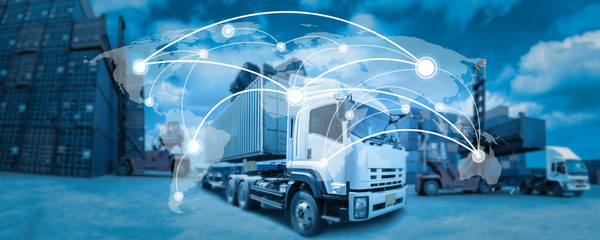 Fototapeta Global network coverage world map,Truck with Industrial Container Cargo for Logistic Import Export at yard (Elements of this image furnished by NASA)