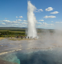 Geysers In Iceland Erupting And Sleeping