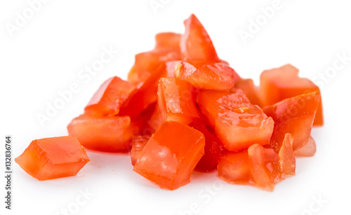 Fotografie, Obraz  Tomatoes (diced) (isolated on white)