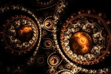 Decorative Fractal Abstract Brown Ornament On Black Background