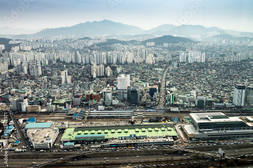 Seoul cityscape, skyline, high rise office buildings and skyscra Poster