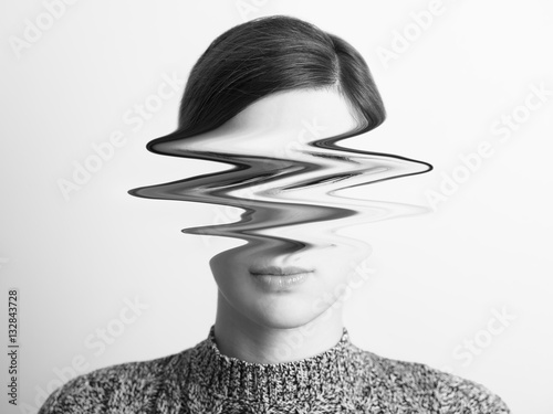 Fotografía  Black and White Abstract Woman Portrait Of Restlessness Concept