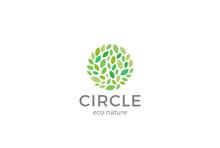 Leaves Eco Logo Circle Design Vector Organic Natural Garden Park