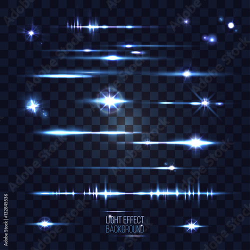 Fotografía  set of abstract lens stars stripes and flares on transparent bac