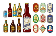 Set Of Icons Beer Bottles And Label Them
