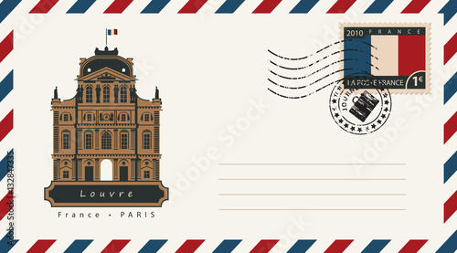 Fototapeta an envelope with a postage stamp with Louvre, and the flag of France