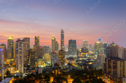 Poster Chicago Top view of Bangkok modern office buildings, condominium in Bangkok city downtown with sunset sky ,Bangkok is the most populated city in Southeast Asia. Bangkok , Thailand
