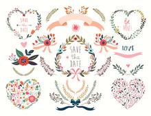 Hand Drawn Wedding Floral Hear...