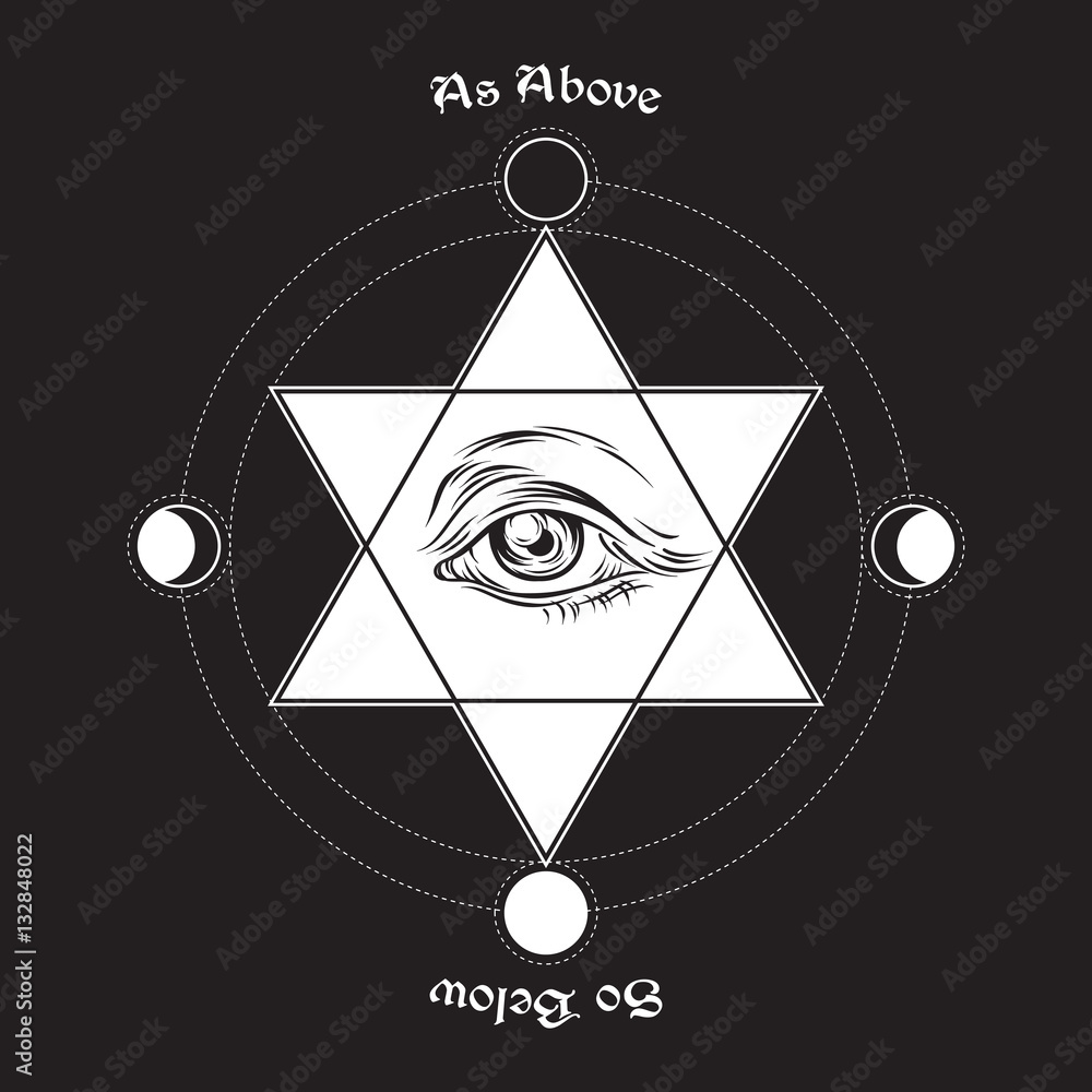 Hand Drawn Medieval Esoteric Style Vector Illustration Eye Of