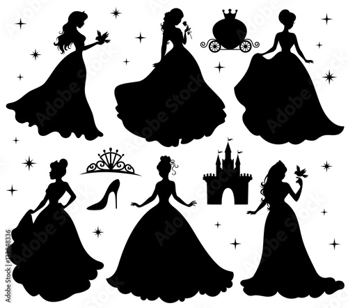 Stampa su Tela Set of silhouettes of princess.
