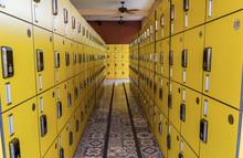 Yellow Locker Arrangement To Row