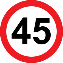 45 Speed Limitation Road Sign